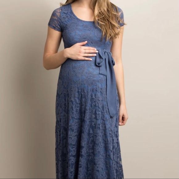 Blue lace sash tie maternity gown